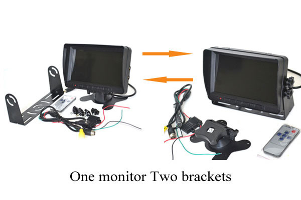 7 inch rear view monitor with 2 brackets